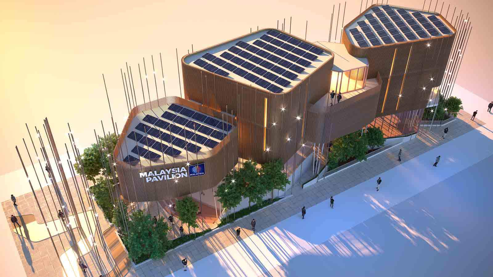 Malaysia Pavilion at Expo 2020 featuring solar PV cells on the roof.