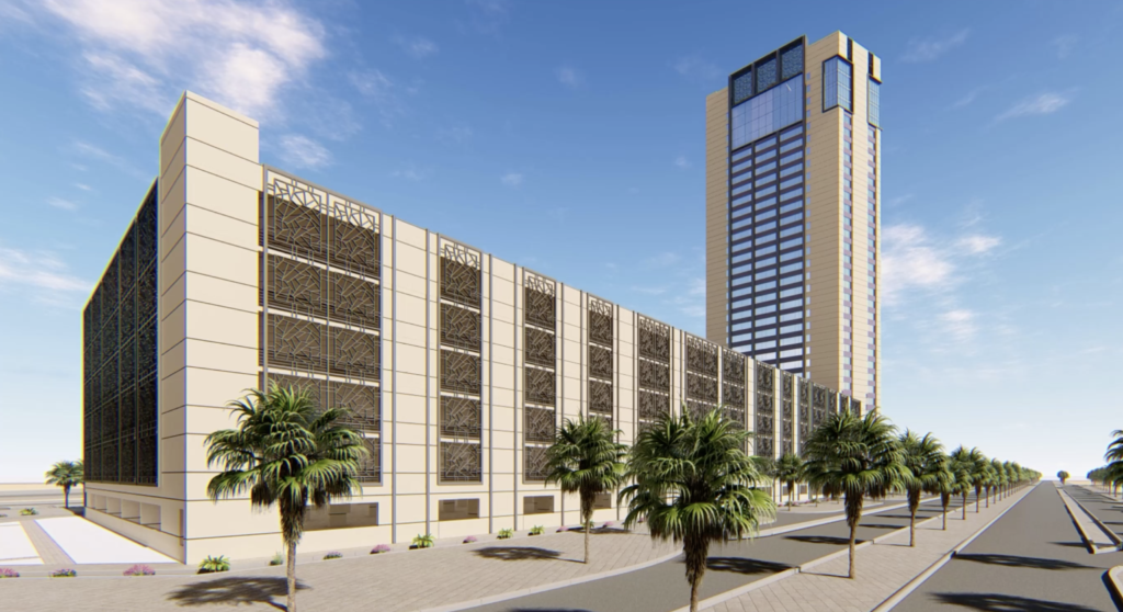 side elevation view of the parking structure