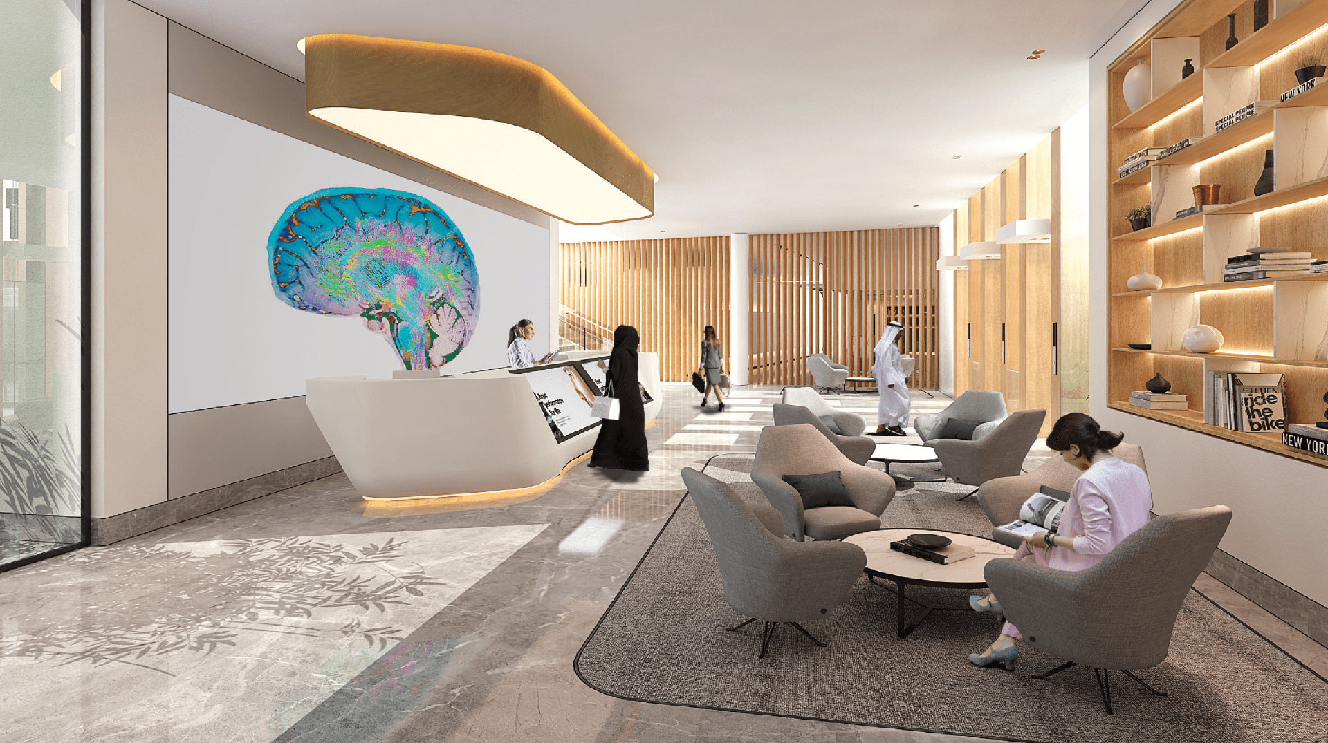 Interior perspective views for DP World Specialty Clinic Ground Plus 2 Floors, in partnership with Dubai Healthcare City.