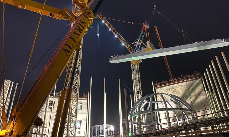 The erection of the skywalk skybridge on the Italy Pavilion RAQ project